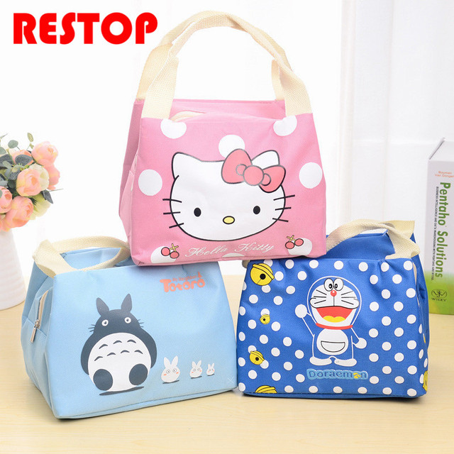 New Insulated Cotton O Kitty Lunch Bag Thermal Food Picnic Bags For Women Kids Men