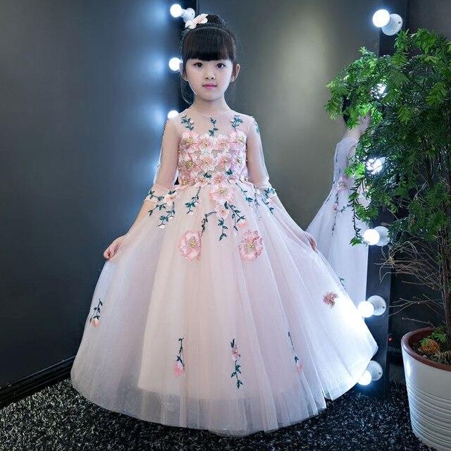 526802e34d Nowe dziewczyny suknia wieczorowa dla dzieci hafty kwiaty księżniczka  sukienki dzieci rękawy urodziny wesele suknia balowa