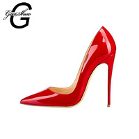 GENSHUO Women Pumps Red Lacquer Patent Leather High Heels Shoes for Wedding Party Sexy Stiletto Heels Pointed Toe 10 12cm