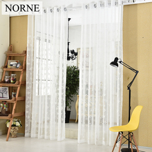 NORNE Decorative Sheer Curtains Embroidered Semi White window curtain Voile drapes Tulle for Bedroom living room kitchen Door