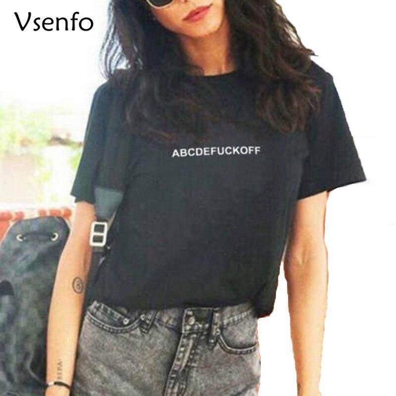 ABCDEFUCKOFF T-Shirt Womens Cotton Short Sleeve Tee Shirt Femme Summer Crewneck Tumblr T ...