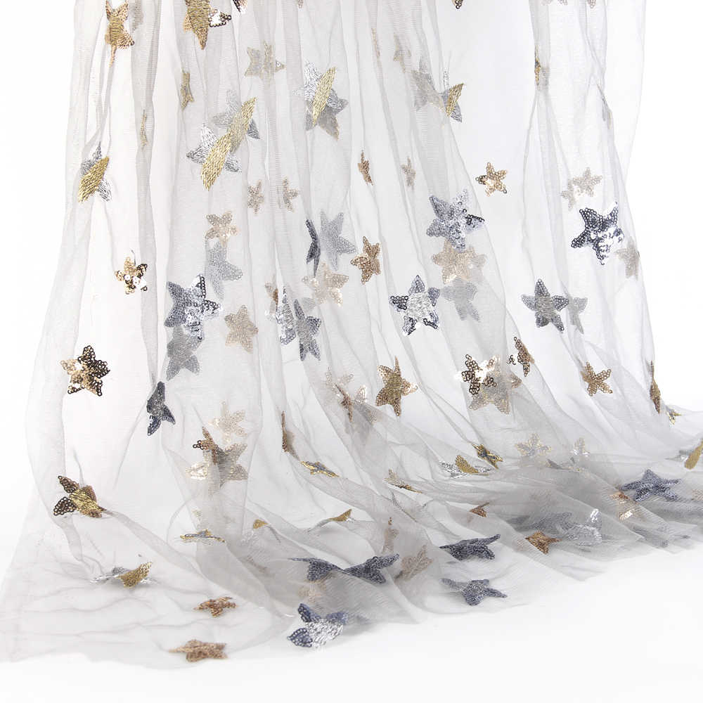 David accessories 50 130cm butterfly sequin star embroidery patch printed  lace tulle fabric for Sewing 70a9d16bf897