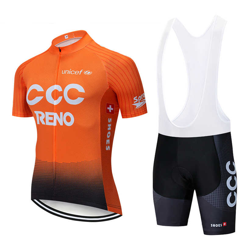 New 2019 Orange Cycling team CCC jersey 12D pad Bike shorts set quick dry Ropa  Ciclismo 431dccdb2