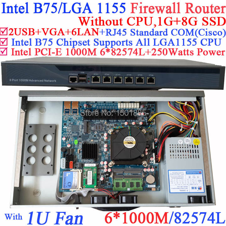6*1000M 82574L Intel B75/LGA 1155 Mini Firewall Server with 2* SFP i350