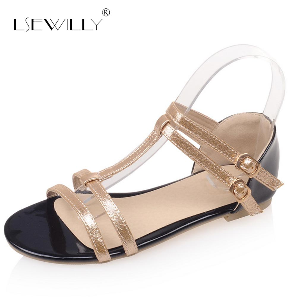 Lsewilly Summer Flats Sandals Gold Red Silver Open Toe Buckle Straps Shoes Woman Flat Heels T-straps Casual Beach Shoes S243 instantarts women flats emoji face smile pattern summer air mesh beach flat shoes for youth girls mujer casual light sneakers