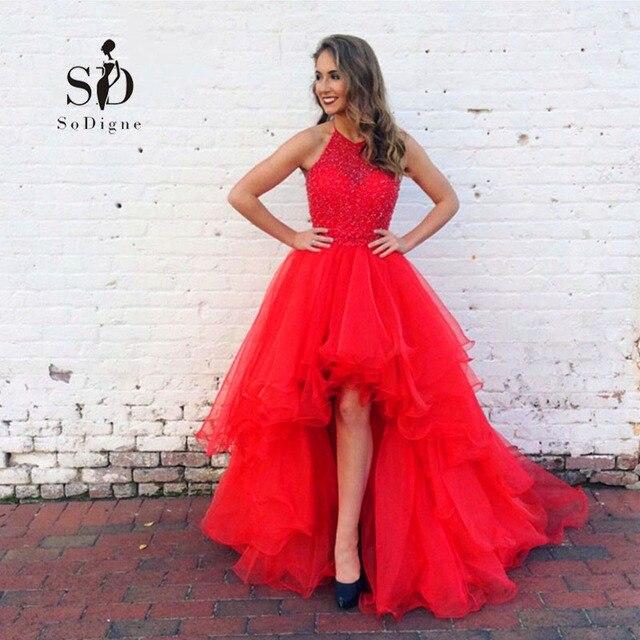 56ca5a8bbfe0 Sodigne alto basso prom dress con strass halter bordato di laurea abito  rosso corto posteriore lungo