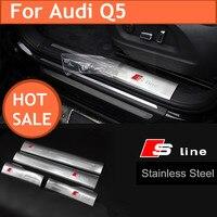 2016 nueva llegada 4 unids 304 acero inoxidable para Audi Q5 s línea Etiqueta engomada protectora de la puerta del coche tableros modificar la decoración
