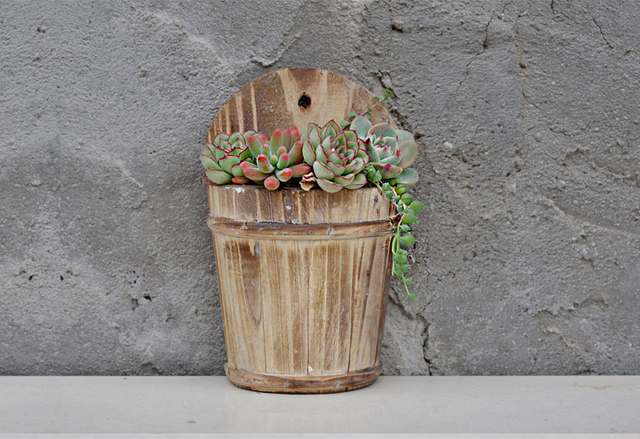 Semicircle Wooden Flower Pots Hanging In Flower Pots Planters From