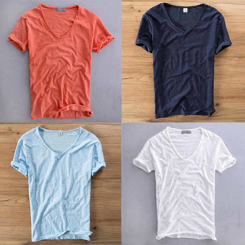 Quality Breathable Cotton Summer Ultra Thin Loose Deep V Neck Tshirt Linen T Shirt Underwear Men