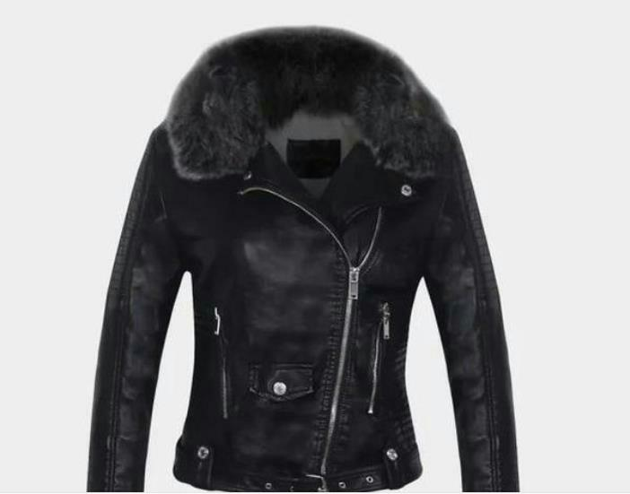 2019 faux   leather   coats Women Winter Autumn Fashion Motorcycle Jacket Black Outerwear faux   leather   PU Jacket 2018 Coat HOT