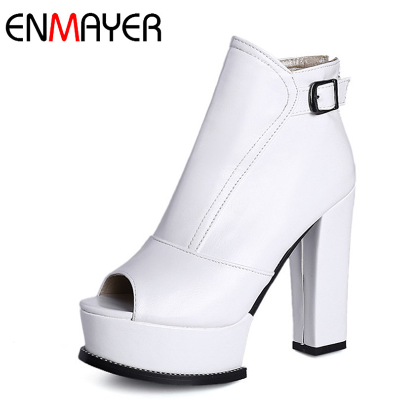 ФОТО ENMAYER Short Boots For Women New Peep Toe Square Heel Ankle Boots Zip Buckle High Boots Spring/Autumn Platform High Heel Boots
