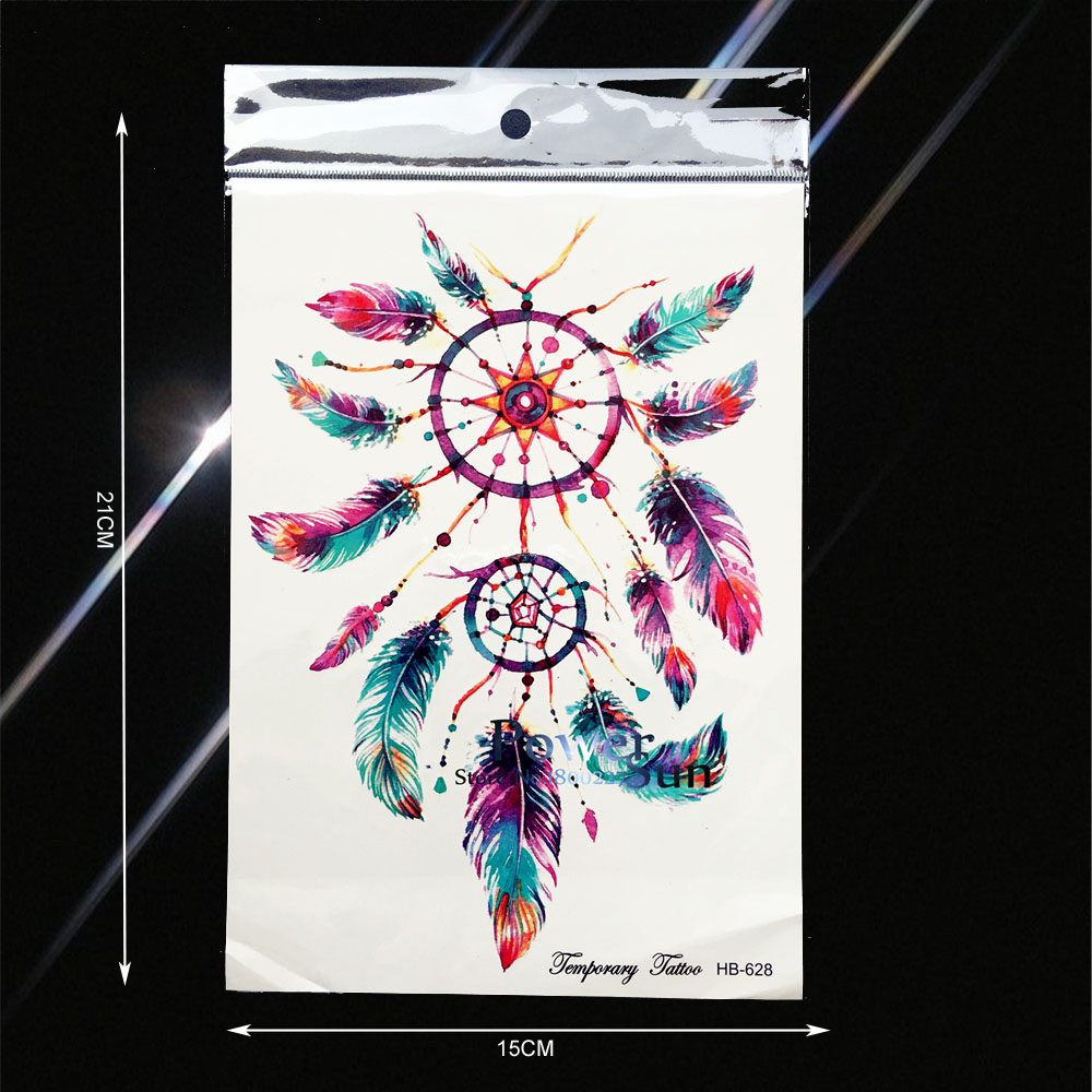 Big Dream Catcher Designs Waterproof Temporary Tattoo Men WOmen Body Art ARm Sleeves Tattoo Legs Shoulder Chest Fake Tatoo PB628