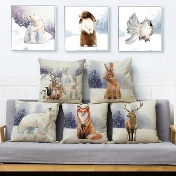 Funda de cojín de animales de invierno pintura acuarela 45*45 cm funda de almohada cuadrada fundas de almohadas de lino fundas de sofá decoración del hogar funda de almohada