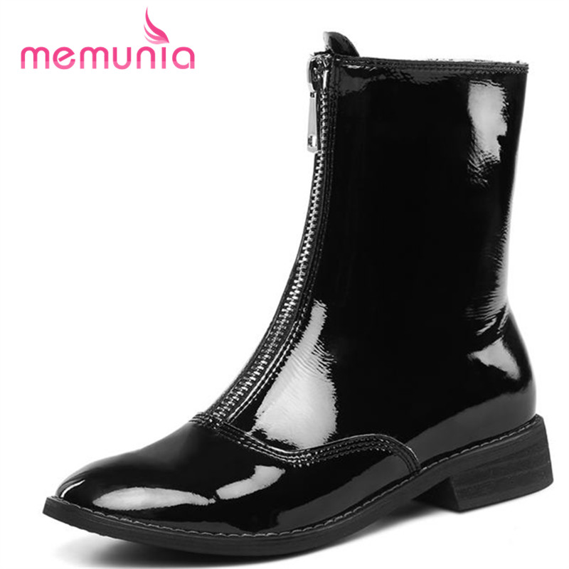 MEMUNIA genuine leather boots woman fashion autumn winter boots for women hot sale square toe low heels ankle boots casual shoes цена