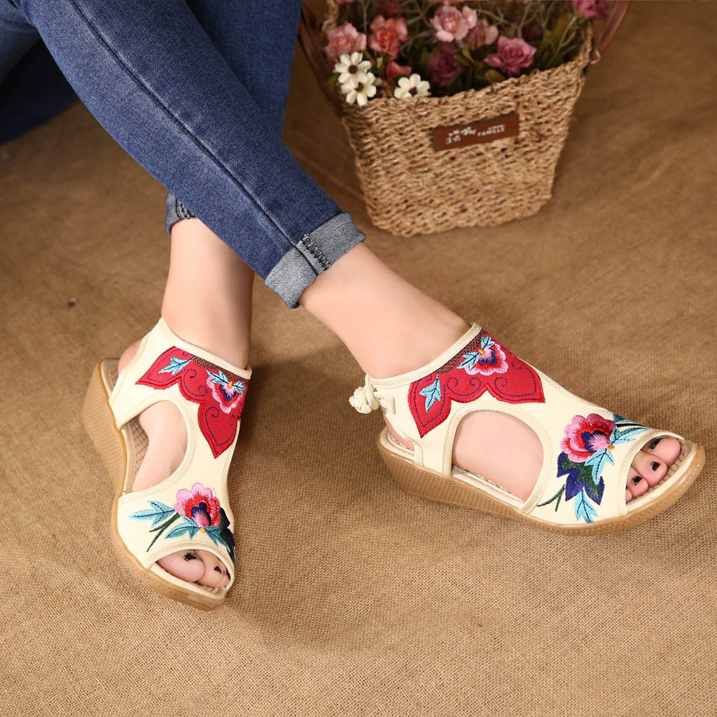 Shoes Women Sandals Wedges-Color Open-Toe Ethnic-Style Fish-Mouth Hollow-Out Retro Embroider