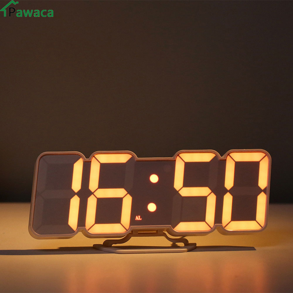 Remote Voice Control 3D Led Digital Alarm Clock Display Time Date Temperature In 115 Colors For Desktop Wall Clock Home Decor