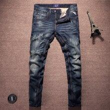2018 Fashion Classical Men Jeans High Quality Slim Fit Dark Blue Color Ripped Jeans For Men Vintage Designer Punk Jeans homme