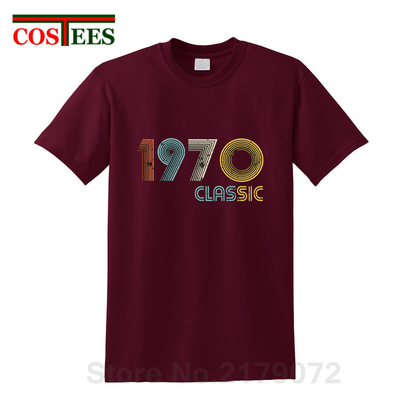 <font><b>Vintage</b></font> <font><b>1970</b></font> T shirt men Retro classic 49 years old birthday T-shirts homme Thanksgiving father's day Tee shirt hombre camisetas image