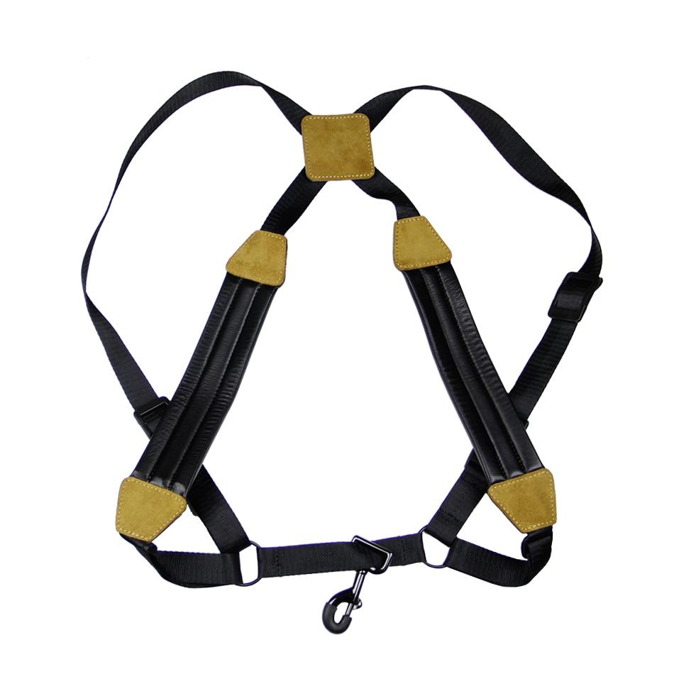 Adjustable sax strap soft kidskin Tenor Alto Soprano Saxophone Sax Chest Double Shoulder Strap metal hook