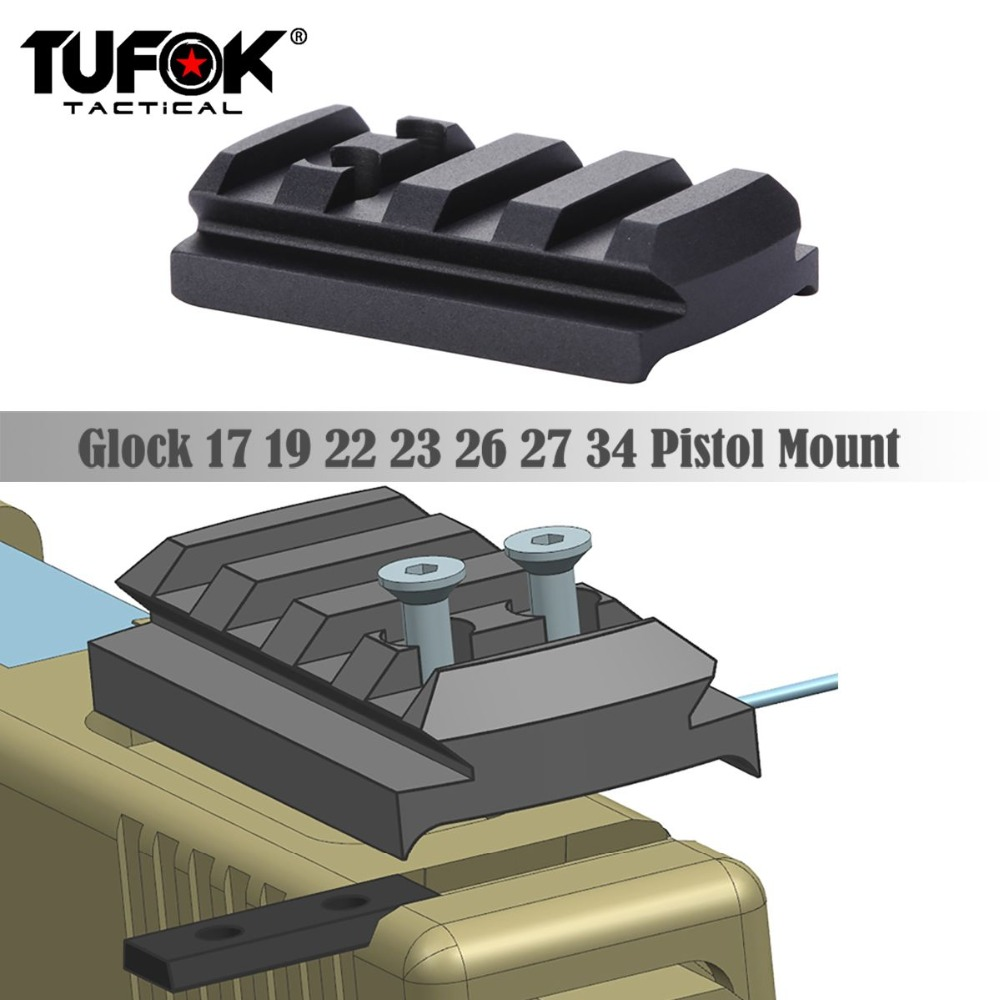 Image 4 - TuFok Glock Plate G17/19/22/23/26/27/34 Glock Mount For Viper Sightmark Burris Vortex Red Dot Sight  Picatinny Rail Adapter Base-in Scope Mounts & Accessories from Sports & Entertainment