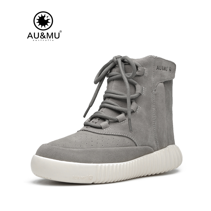 2018 AUMU Australia Classic Suede Lace-up Round Toe Rubber Soles Casual Winter Snow Shoes N066 2017 aumu australia comfort suede fur mid calf flat lace up round toe winter snow boots ug n728