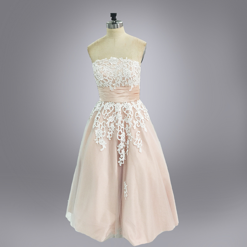 Popular champagne colored short wedding dresses buy cheap for Champagne lace short wedding dress