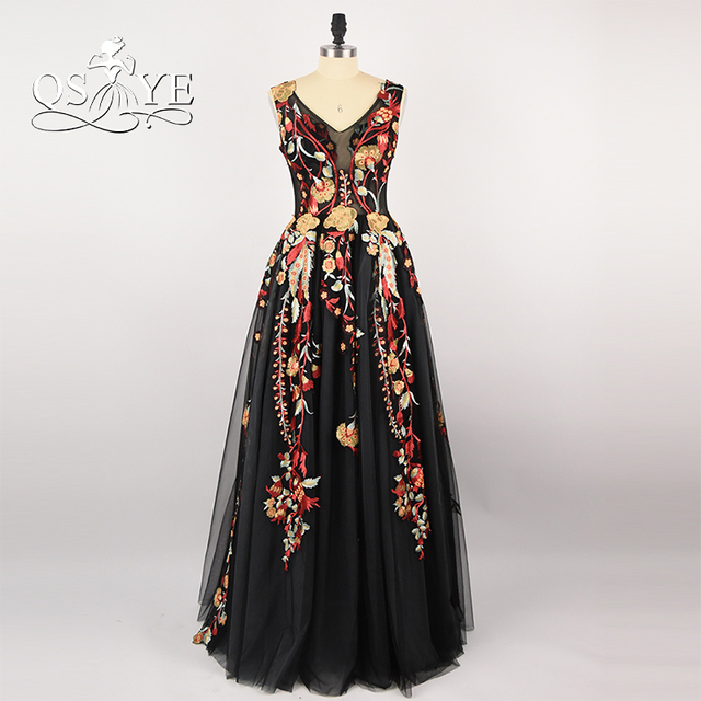 2f56cf0025 2018 New Fashion Embroidery 3D Flowers Print Prom Dresses Long Evening Dress  V Neck Sleeveless Black Tulle Formal Party Gowns