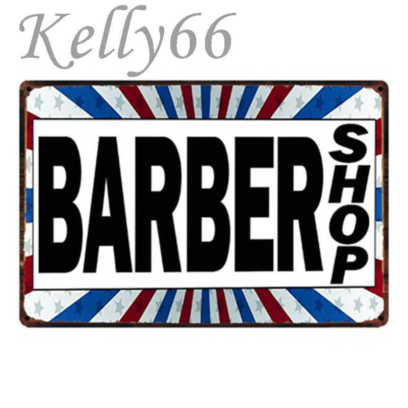 [Kelly66] Парикмахерская металлическая вывеска Оловянная табличка для домашнего декора настенная художественная живопись 20*30 см Размер y-1456
