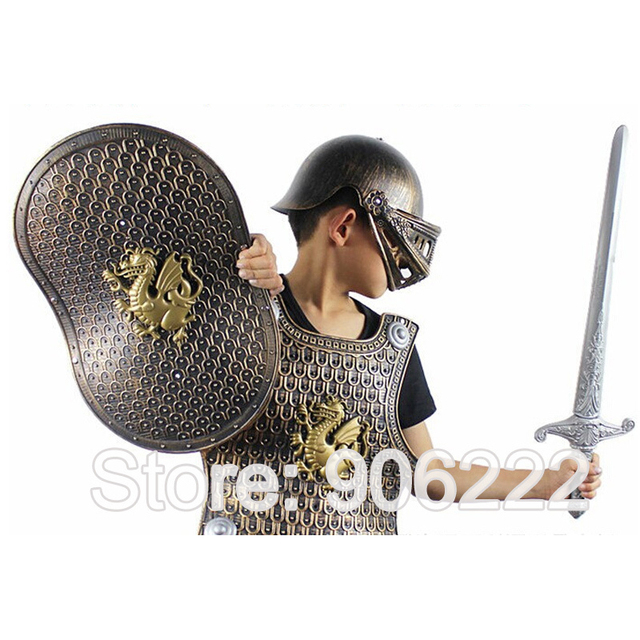 e7c2336f96d5a1 Child Toy Shield Helmet Wearables Helmet Armor Warrior Props Sword  Scabbard/ Helmet And Shield Knight Helmet Child Play Set