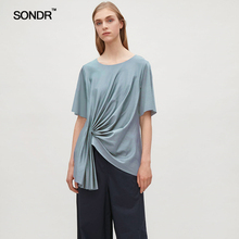 SONDR 2019 summer new women's wear European and American mercerized cotton irregular hem haze blue pleated T-shirt knit top tee contrast binding asymmetrical hem knit tee