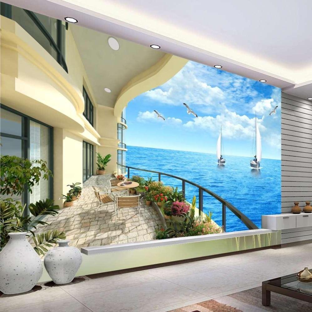US $8 55 OFF Beibehang Kustom 3D Foto Wallpaper Kain Sutra Kertas Dinding Kamar Tidur Ocean Sky Ocean Beach Papel De Parede 3D Dinding Mural