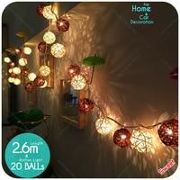 20 Leds Czekolady Kawy Biały Rattan Ball Lights Dekoracje Party Sklep diy Ślub Boże Narodzenie Drzewo Home decor Akcesoria UE Wtyczką