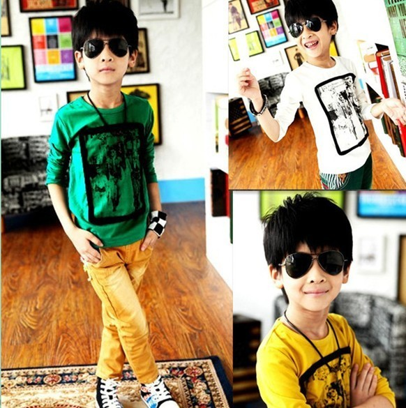 On Sale children clothes boys t shirts yellow white color tee for 3 5 years old A257