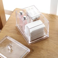 Transparent Acrylic Cosmetic Cotton Case Storage Box 14 10 11cm
