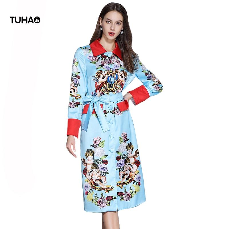 Long Windbreaker Trench-Coat Spring Women Turn-Down Color Collar TGA242 Sashes Angel