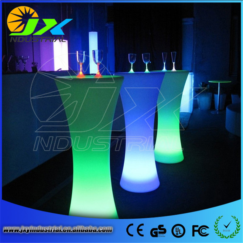 Free shipping LED Round Pub Table Sets Led Garden Table Night Club Furniture color Cocktail table LED furniture