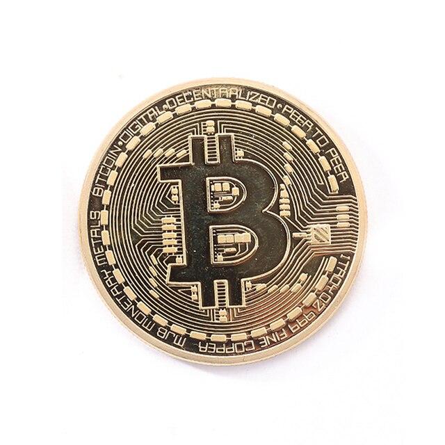 1pc gold commemorative coins Physical Bitcoins Casascius Bit Coin BTC Physical Metal Antique Imitation BTC Coin Art Collection