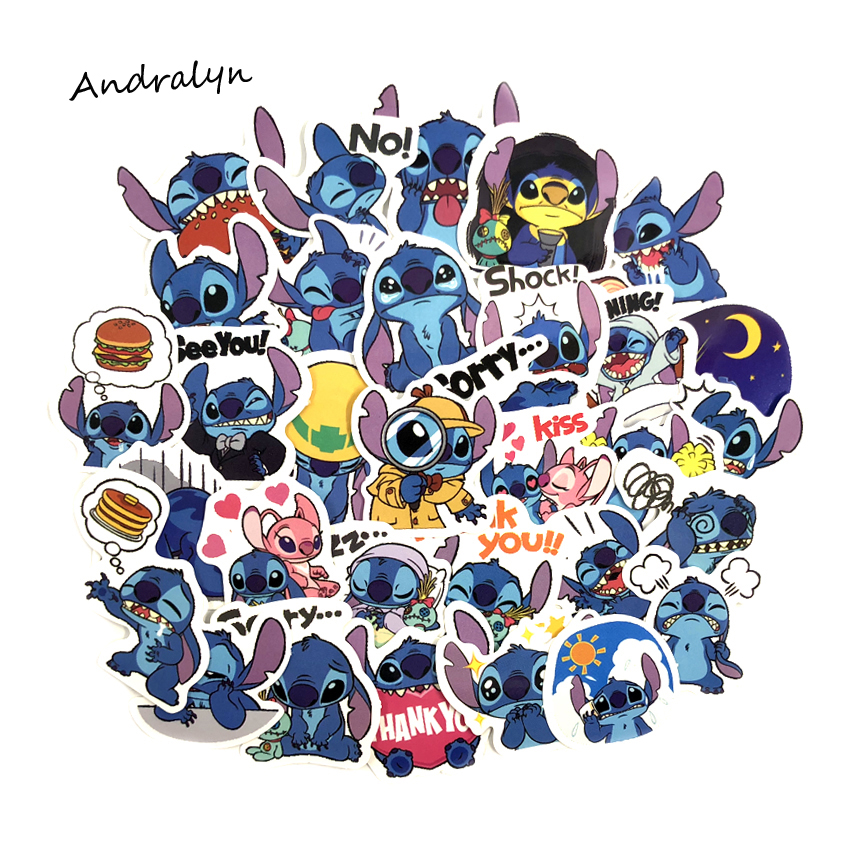 Cartoon Stickers Notebook Luggage Laptop Lilo Scrapbooking Stitch Motorcycle Cute 50pcs/Set