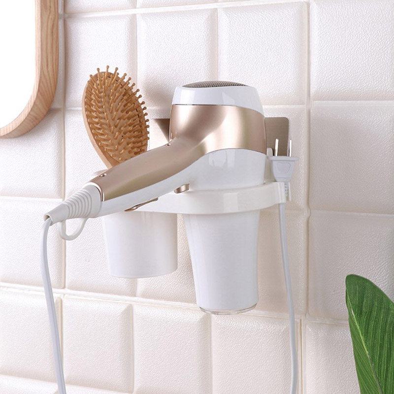 Wall Mounted Hair Dryer Holder With Comb Storage Cup Suction Plastic Bathroom Hanging Rack Organizer TB Sale