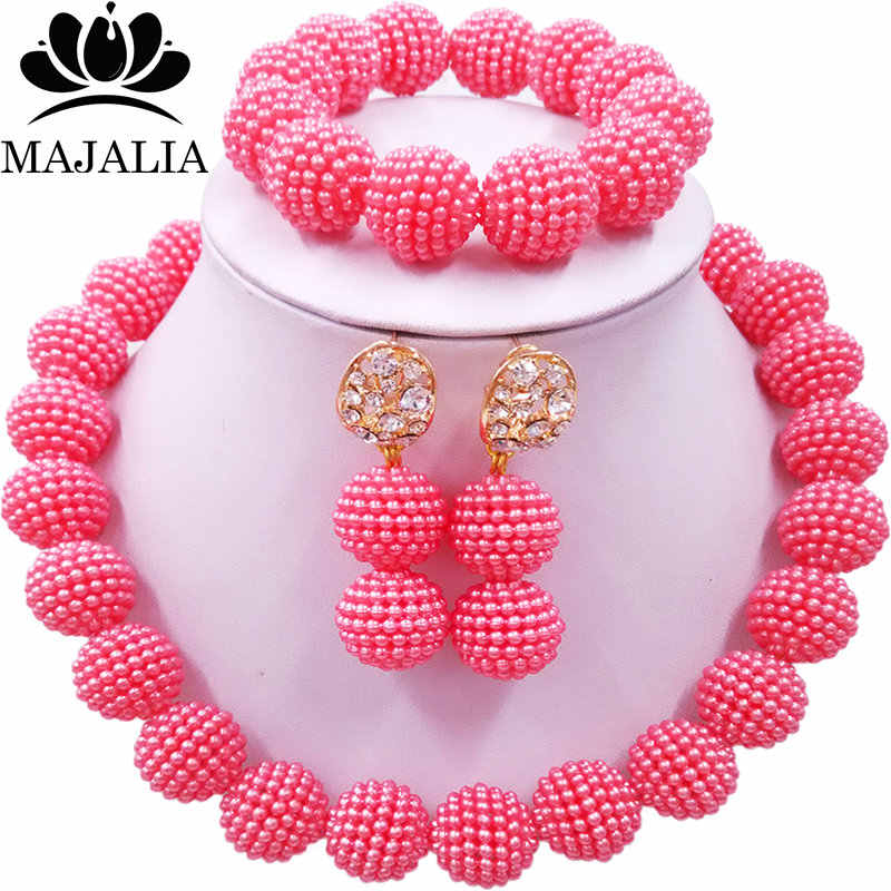 Majalia Classic Nigerian Wedding African Jewelery Set Pink Crystal Necklace Bride Jewelry Sets 1ZZ006