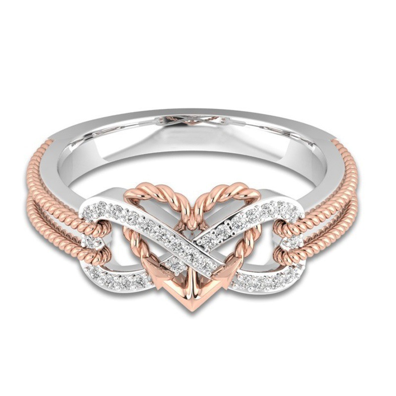 Marcatsa Anchor Rope Letter 8 Engagement Ring Double Color Heart