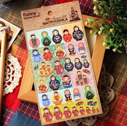 Cute Russian Girls Decorative Stickers Mobile Phone Stickers Stationery DIY Scrapbooking Album Stickers russian phrase book