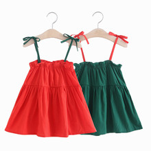 Hot 2019 Sale Sleeveless Big Bow Cute Multicolour Summer New Girl Clothes Stripes Sleeves Sling Swee