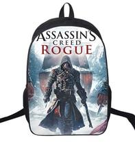 16-inch Anime Assassin Creed Nylon Backpack Cartoon School Bag Student Bags Double Shoulder Boy Girls Schoolbag