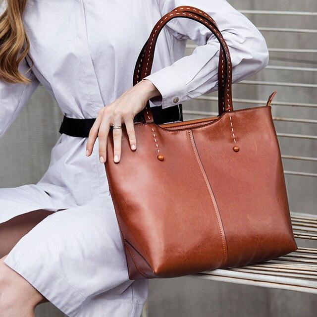 7e78903486 Guarantee 100% Genuine Leather Casua Handbags Real Cow Leather Ladies  Shoulder Bags Messenger Bag hot Female Summer handbags