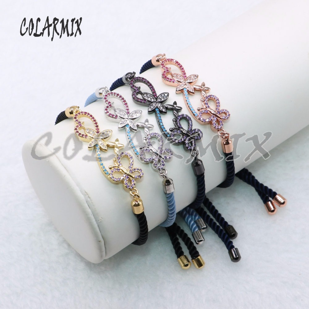 5 pieces Double butterflies bracelets butterfly bracelet mix colors charm wholesale jewelry handcrafted bracelets 4602