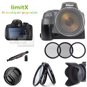 Image 2 - Комплект аксессуаров, кожаный чехол с половиной корпуса, Комплект фильтров, бленда для объектива, крышка для объектива, стеклянная Защита ЖК дисплея для цифровой камеры Nikon P1000