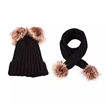 Dreamskull Kids Winter Hat And Scarf Two-Peice Set Knit Skull Beanie Hats  And Scarf For Baby