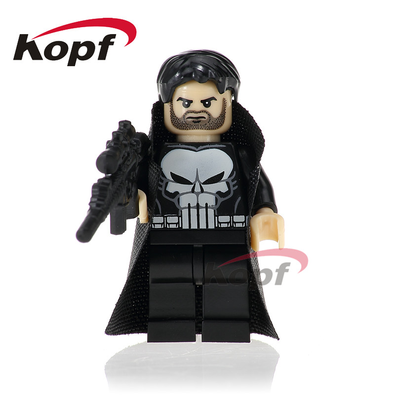 Single Sale Super Heroes Punisher With Coat Dark Red Armed Deadpool Laura Superman Model Building Blocks Toys for children PG249 single sale super heroes red yellow deadpool duck the bride terminator indiana jones building blocks children gift toys kf928