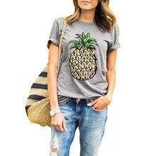 2017 Mulheres Verão camiseta Abacaxi Imprimir O Pescoço Casual Manga Curta  Novidade Breve Lady Tee Tops Feminino Camiseta Cinza . 6bc29d559211f